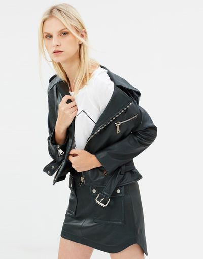"""<a href=""""https://www.theiconic.com.au/open-season-leather-jacket-591863.html"""" target=""""_blank"""">Manning Cartell Open Season Leather Jacket, $799</a>"""