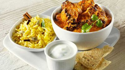 """<a href=""""http://kitchen.nine.com.au/2016/06/06/16/52/lamb-curry-with-spiced-rice-and-yoghurt-sauce"""" target=""""_top"""" draggable=""""false"""">Lamb curry with spiced rice and yoghurt sauce</a> recipe"""