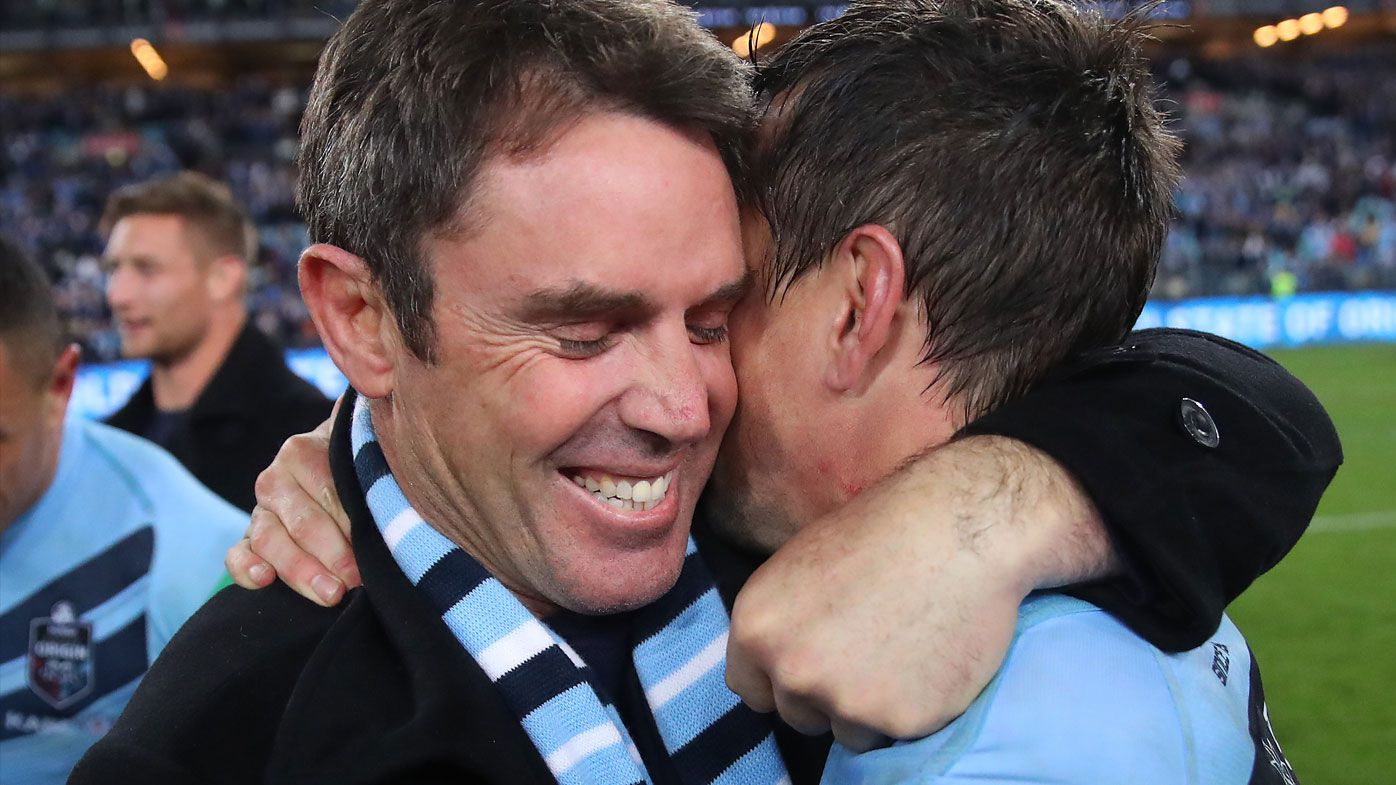 NSW Blues coach Brad Fittler celebrates consecutive Origin titles