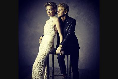 @vanityfair: @theellenshow and Portia de Rossi have a quiet moment after a crazy night. @markseliger captures them in our #oscars portrait studio. #vfoscars