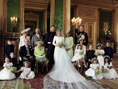 The Duke and Duchess of Sussex in The White Drawing Room at Windsor Castle in 2018.