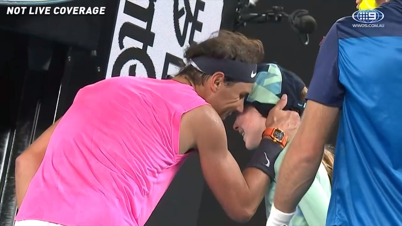 'A super brave girl': Rafael Nadal's incredible gesture to ballgirl after 'scary' moment in second-round win