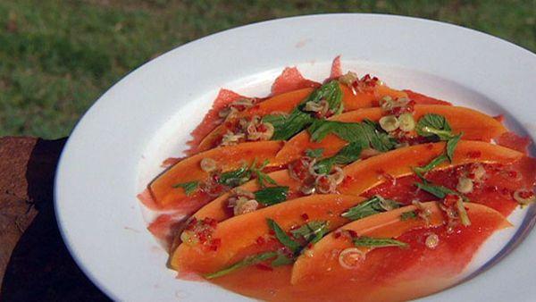 Watermelon and papaya carpaccio