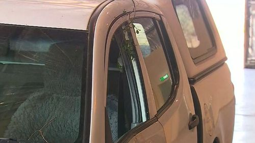 Damage to the woman's vehicle. (9NEWS)