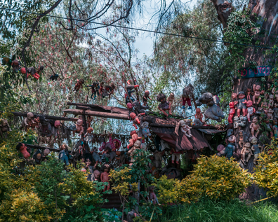 Mexico city, August, 28, 2018: Famous and unique island full of tetric dolls in Xochimilco.