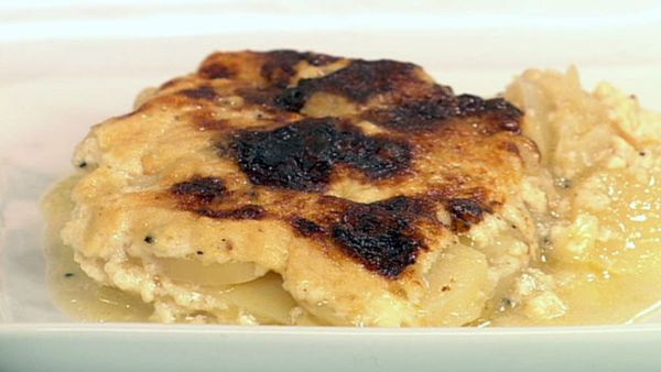 Potato gratin with cave ripened tallegio or stinky munster