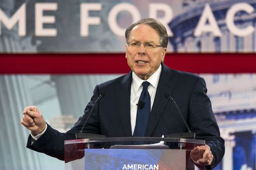 Wayne LaPierre has hit out at gun control advocates for using the Florida shooting for political gain. (AAP)