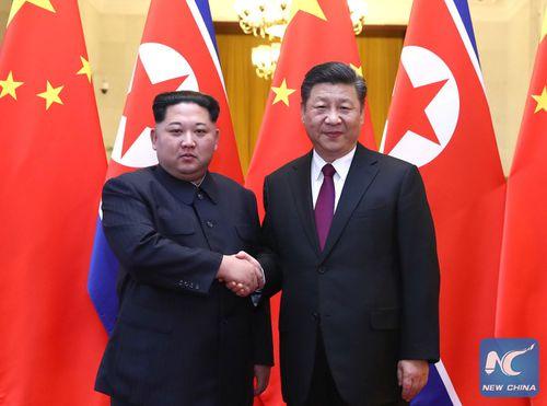 Kim Jong-un and Xi Jingping held informal talks in Beijing. (Supplied)