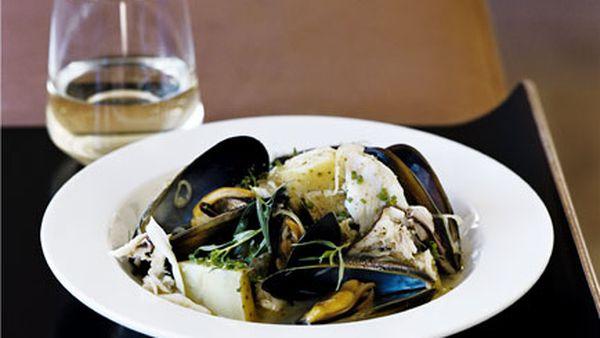 Warm mussel, potato and crab salad