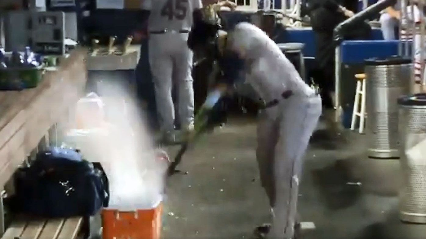 Baseball: Tampa Bay Rays' Carlos Gomez's epic dugout meltdown after striking out