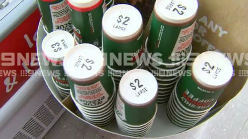 Any takeaway coffee cup can be recycled- not just those purchased from 7-Eleven stores. (9NEWS)
