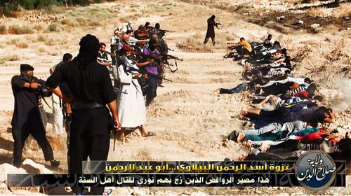 ISIS published images of the mass execution of Shiite soldiers on Twitter yesterday.