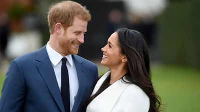 Harry and Meghan during their engagement announcement