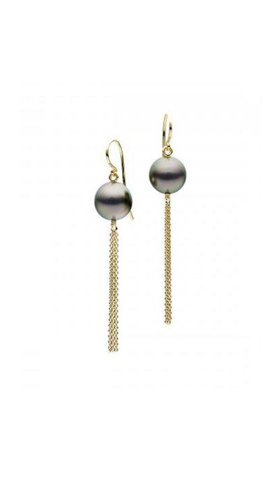 """<a href=""""http://www.janlogan.com/south-sea-pearl-earrings-251461"""">18ct Tahitian Pearl Borla Earrings, $1,100, Jan Logan</a>"""