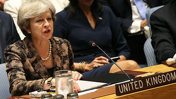 British Prime Minister Theresa May speaks during a Security Council Meeting on United Nations peacekeeping operations. (AAP)