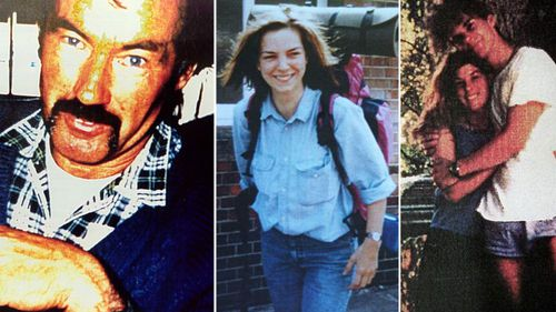 Ivan Milat with images of some of his backpacker victims.