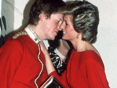 Princess Diana greets her brother Charles at a charity ball.