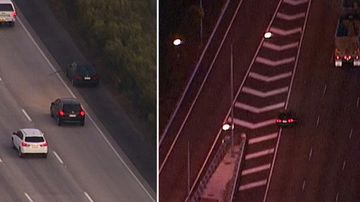 The car swerving in and out of traffic on the busy M1. (9NEWS)