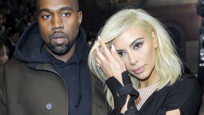 Kanye West and Kardashian arrive for Lanvin's ready-to-wear Fall-Winter 2015/2016 fashion collection. (AAP)