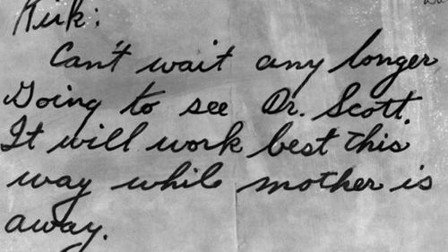 This note found in Jean Spangler's handbag raised more questions than answers.