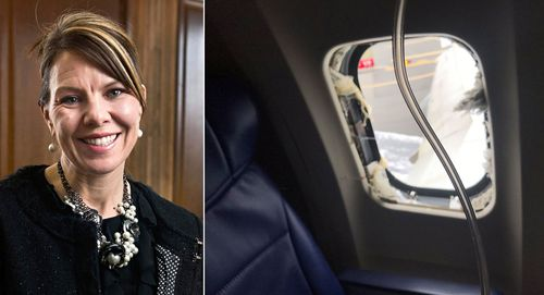 The flight attendant needed the help of two male passengers to pull Jennifer Riordan's body back inside the cabin.