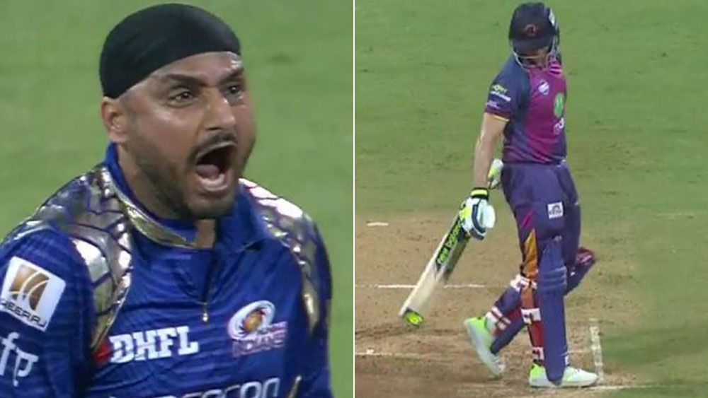 Australian cricketer Steve Smith becomes 200th T20 victim of Harbhajan Singh in the IPL