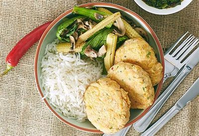 Thai fish cakes and stir-fry vegetables with dipping sauce