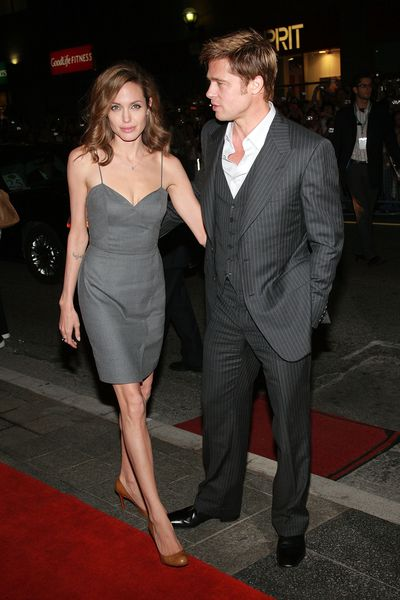 Angelina Jolie in Ralph &amp; Russo and Brad Pitt at the <em>The Assassination of Jesse James</em> premiere in Toronto, September, 2007
