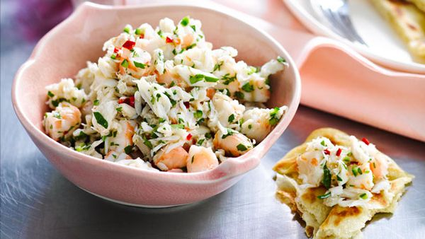 Crab and prawn salad with crispy roti