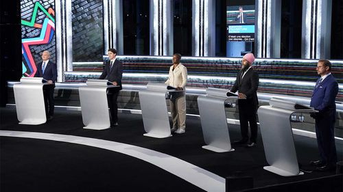Conservative leader Erin O'Toole, Liberal leader Justin Trudeau, Green leader Annammie Paul, New Democratic Party leader Jagmeet Singh and Bloc leader Yves-Francois Blanchet during a French language election debate.