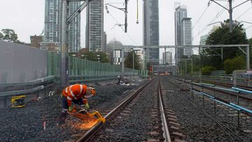 A rail line being cut on Sydney's north shore.