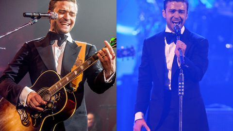 He's back: Justin Timberlake rocks out with Jay-Z on stage after a three-year break