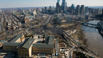 A crowd gathers near the Philadelphia Museum of Art. (AAP)