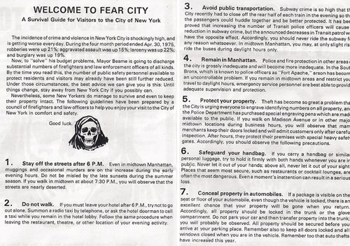 Copy of pamphlet handed out to New York City visitors in 1975, warning of the city's notorious crime rate. (Image: islandersa1 flickr)