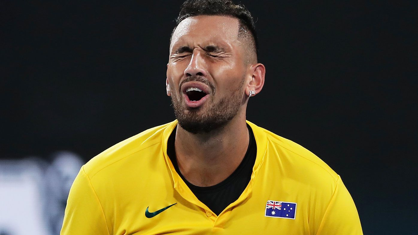 Nick Kyrgios of Australia reacts after losing a point during his semi-final singles match against Roberto Bautista Agut of Spain