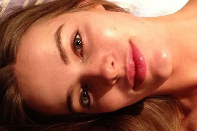 ... or a make-up free selfie before bed. <br/><br/>What a barefaced beauty!