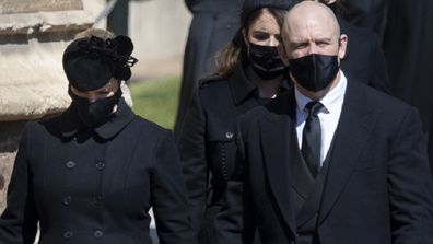 Zara and Mike Tindall at Prince Philip's funeral on April 17