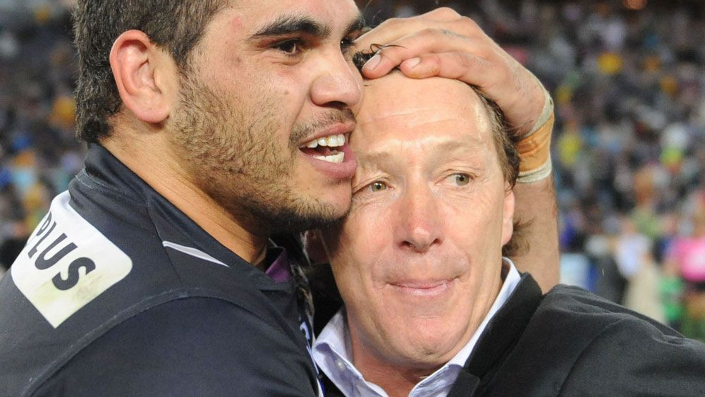 Greg Inglis and Craig Bellamy after the 2009 grand final. (AAP)