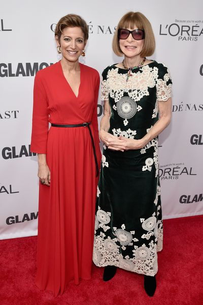 Glamour Magazine Editor in Chief Cindi Leive and Anna Wintour at the Glamour Women of the Year Awards, November 13.