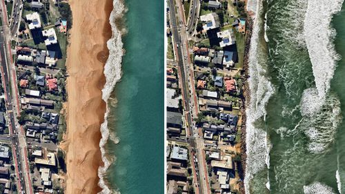 Before and after: Narrabeen Beach. (Nearmap)