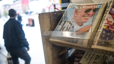 Joe Biden's projected US presidential election victory is seen on the front pages of British newspapers on November 8, 2020 in London, United Kingdom. (Photo by Peter Summers/Getty Images)
