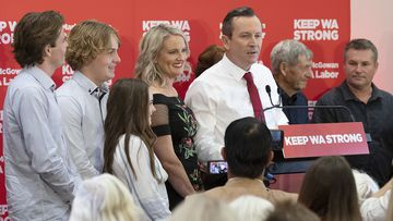 After a landslide victory, re-elected Premier of WA Mark McGowan makes a speech with his family by his side at the Gary Holland Community Centre.