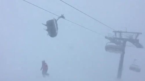 Other skiers watched on as the lift shook. (Facebook)