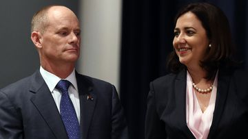 Queensland Premier Campbell Newman and Opposition leader Annastacia Palaszczuk wait for the start of their Leaders debate in Brisbane. (AAP)