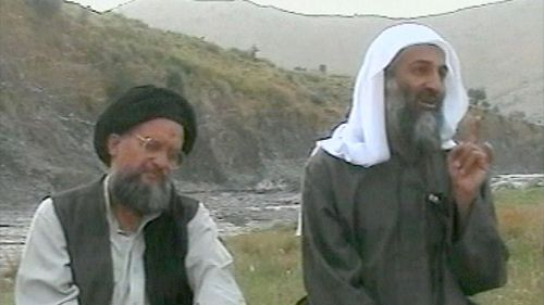 Osama bin Laden, right, and top deputy Ayman Al-Zawahri, left Wednesday April 17, 2002. (AP)