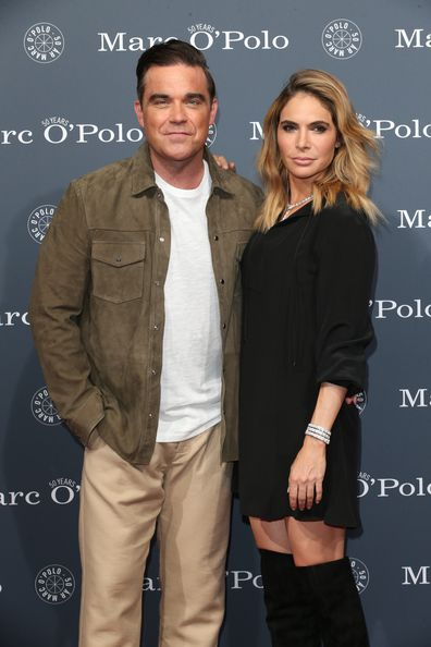 Robbie Williams and his wife Ayda Williams during the 50th anniversary celebration of Marc O'Polo at its headquarters on July 6, 2017 in Stephanskirchen near Rosenheim, Germany.