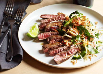Seared skirt steak, green papaya and roasted rice