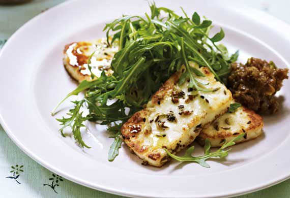 Anjum Anand's spice-crusted halloumi with fig and pistachio chutney