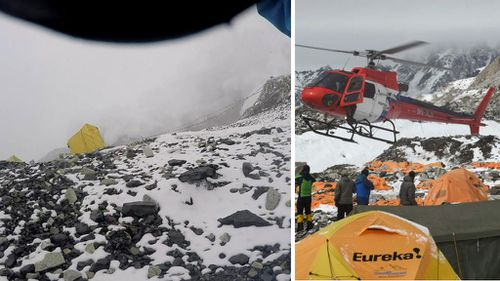 A screenshot of a video shows the deadly avalanche and (right) a helicopter lands to evacuate victims. (Jelle Veyt/AAP)
