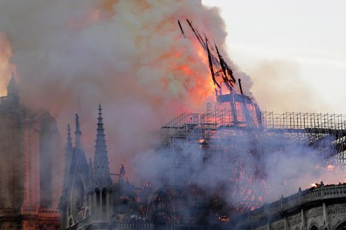 The blaze caused the spire of the iconic cathedral to collapse.